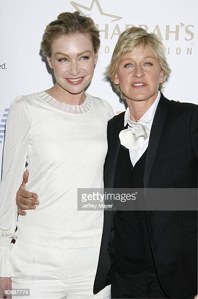 Actress Portia de Rossi and comedian Ellen DeGeneres arrive at the 19th Annual GLAAD Media Awards on April 25 2008 at the Kodak Theatre in Hollywood...