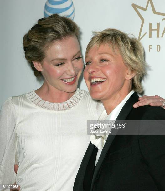 Actress Portia de Rossi and comedian Ellen DeGeneres attend the 19th Annual GLAAD Media Awards at the Kodak Theater on April 26 2008 in Hollywood...