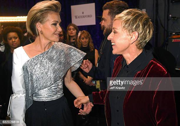 Actress Portia de Rossi and comedian Ellen DeGeneres pose backstage during the People's Choice Awards 2017 at Microsoft Theater on January 18 2017 in...