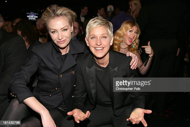 Actress Portia de Rossi and comedienne Ellen DeGeneres attend the 55th Annual GRAMMY Awards at STAPLES Center on February 10 2013 in Los Angeles...