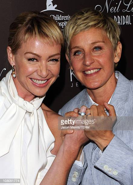 Actress Portia de Rossi and TV personality Ellen DeGeneres arrive at celebrated jewelry designer Neil Lane's debut of his new bridal collection with...
