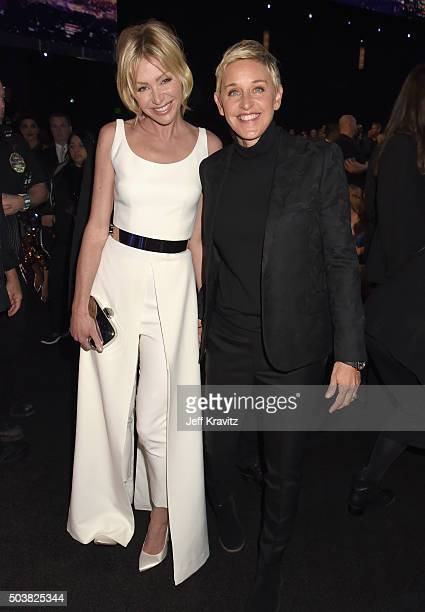 Actress Portia de Rossi and tv personality Ellen DeGeneres attend the People's Choice Awards 2016 at Microsoft Theater on January 6 2016 in Los...