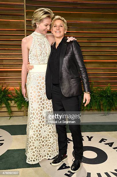 Actress Portia de Rossi and TV personality Ellen DeGeneres attends the 2014 Vanity Fair Oscar Party hosted by Graydon Carter on March 2, 2014 in West...