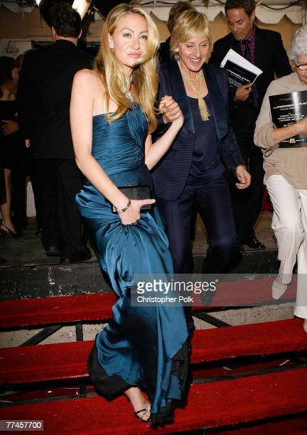 LOS ANGELES CA SEPTEMBER 16 Actress Portia de Rossi and TV Personality Ellen DeGeneres behind the scenes at the 59th Primetime EMMY Awards at the...