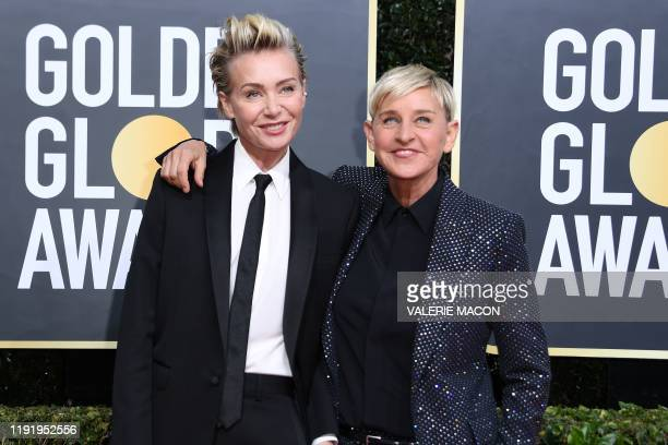 Actress Portia de Rossi and US comedian Ellen DeGeneres arrives for the 77th annual Golden Globe Awards on January 5 at The Beverly Hilton hotel in...