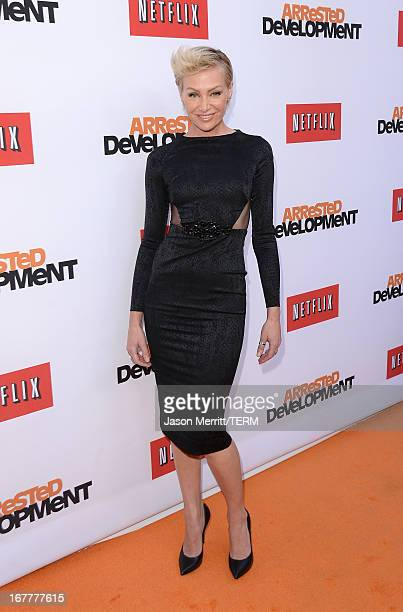 Actress Portia de Rossi arrive at the TCL Chinese Theatre for the premiere of Netflix's Arrested Development Season 4 held on April 29 2013 in...