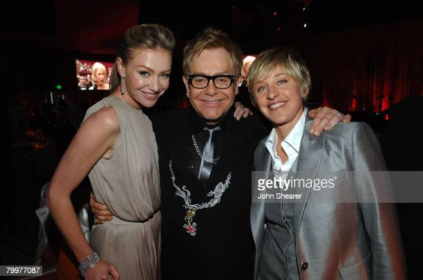 Actress Portia de Rossi singer Elton John and television personalityEllen DeGeneres and actress Jane Hajduk attend the 16th Annual Elton John AIDS...