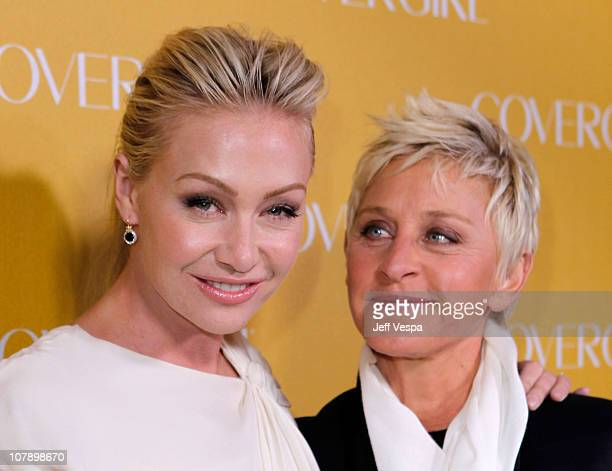 Actress Portia Del Rossi and TV personality Ellen DeGeneres arrive at COVERGIRL 50th Anniversary Celebration at BOA Steakhouse on January 5, 2011 in...