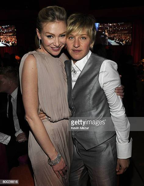 HOLLYWOOD FEBRUARY 24 Actress Portia deRossi and Comedian Ellen Degeneres attend the 16th Annual Elton John AIDS Foundation Academy Awards viewing...