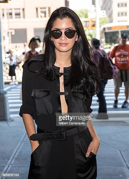 Actress Praya Lundberg is seen arriving at Boss Womenswear fashion show during New York Fashion Week September 2016 at The Gallery Skylight at...