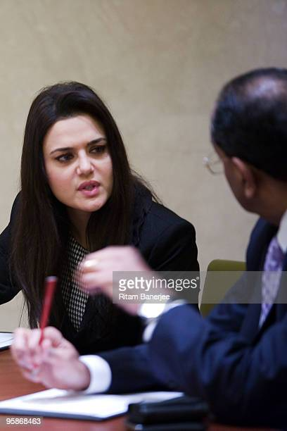 Actress Preity Zinta and coowner of the Kings XI Punjab at the Indian Premier League Auction 2010 on January 19 2010 in Mumbai India
