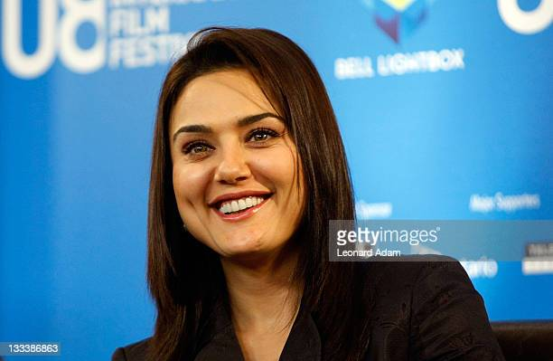 """Actress Preity Zinta speaks at the """"Heaven On Earth"""" press conference during the 2008 Toronto International Film Festival held at the Sutton Place..."""