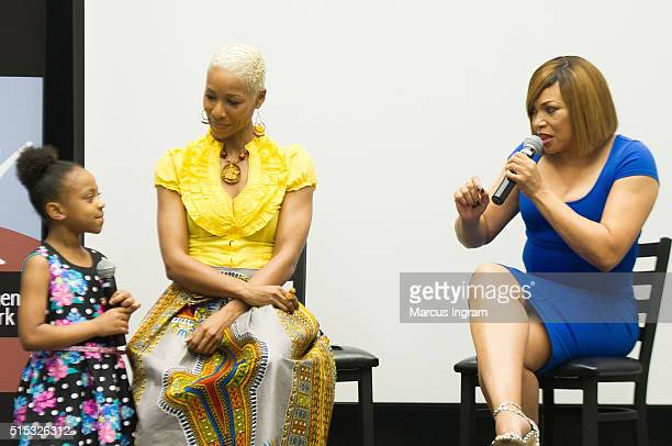 Actress Priah Ferguson actress/moderator Charmin Lee and actress and singer Tisha CampbellMartin speak on stage during the Black Women Film Network A...