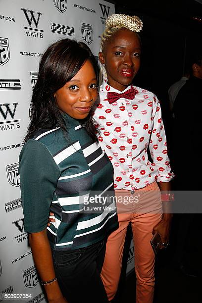 Actress Priscilla Adade and Blogger Satou Luminel attends the Launch of Kelly Vedoveli's blog at Bridge Club on January 7 2016 in Paris France
