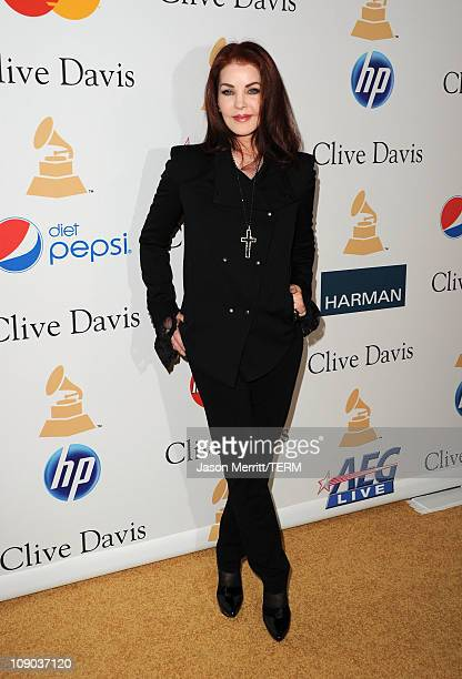 Actress Priscilla Presley arrives at the 2011 PreGRAMMY Gala and Salute To Industry Icons Honoring David Geffen at Beverly Hilton on February 12 2011...