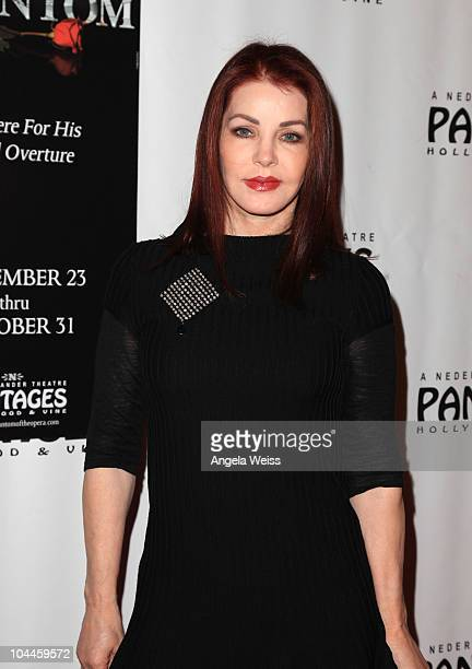 Actress Priscilla Presley arrives at the opening night of 'Phantom Of The Opera' at the Pantages Theatre on September 25, 2010 in Hollywood,...