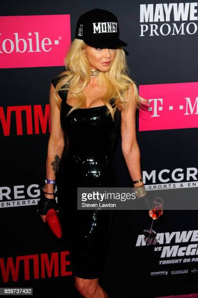 Actress Priscilla Taylor attends the VIP party before the boxing match between boxer Floyd Mayweather Jr and Conor McGregor at TMobile Arena on...