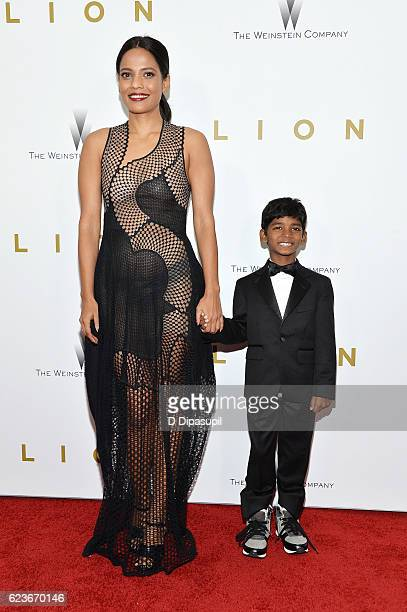 Actress Priyanka Bose and actor Sunny Pawar attend the 'Lion' premiere at Museum of Modern Art on November 16 2016 in New York City
