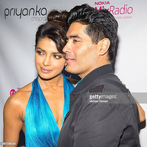 Actress Priyanka Chopra and designer Manish Malhotra attend the 'I Can't Make You Love Me' video premiere at Tribeca Grand Hotel on April 28 2014 in...