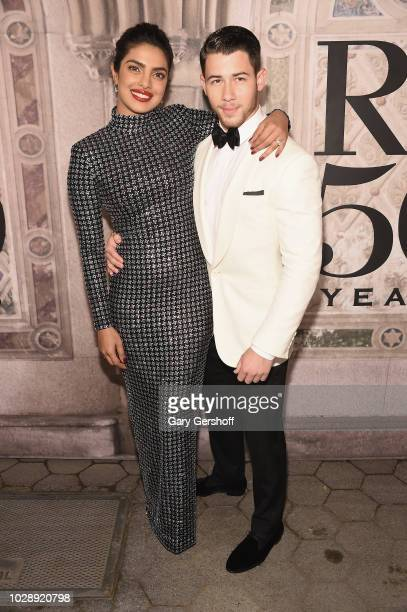 Actress Priyanka Chopra and musician Nick Jonas attend the Ralph Lauren 50th Anniversary event during New York Fashion Week at Bethesda Terrace on...