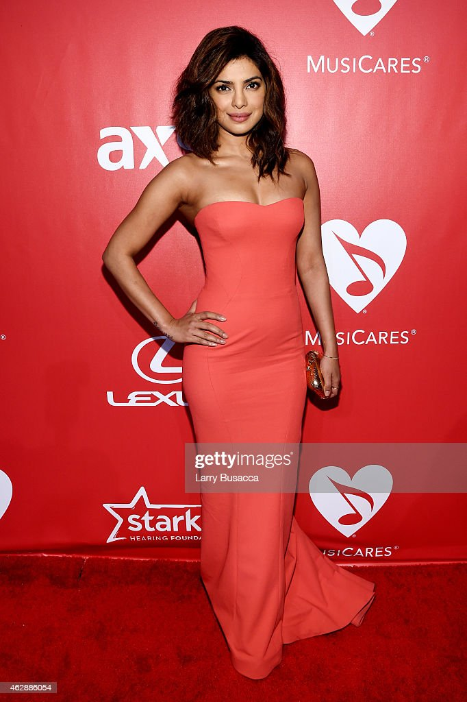 Actress Priyanka Chopra attends the 25th anniversary MusiCares 2015 Person Of The Year Gala honoring Bob Dylan at the Los Angeles Convention Center on February 6, 2015 in Los Angeles, California. The annual benefit raises critical funds for MusiCares' Emergency Financial Assistance and Addiction Recovery programs. For more information visit musicares.org.