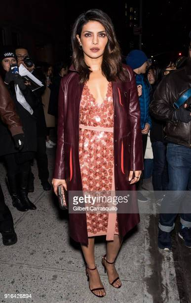 Actress Priyanka Chopra is seen arriving to the Bottega Veneta fashion show during New York Fashion Week at New York Stock Exchange on February 9...