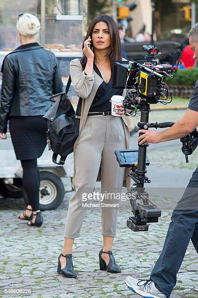 Actress Priyanka Chopra is seen during filming of 'Quantico' in Midtown on July 12 2016 in New York City