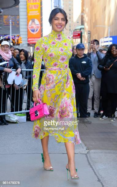 "Actress Priyanka Chopra is seen leaving ""Good Morning America""on April 26, 2018 in New York City."