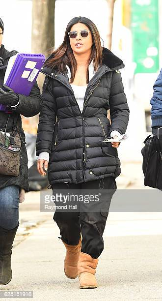 Actress Priyanka Chopra is seen on the set of 'Quantico' on November 22 2016 in New York City