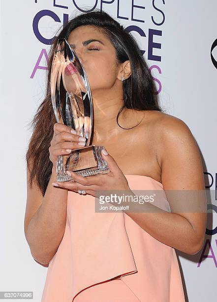 Actress Priyanka Chopra poses in the press room at the People's Choice Awards 2017 at Microsoft Theater on January 18 2017 in Los Angeles California