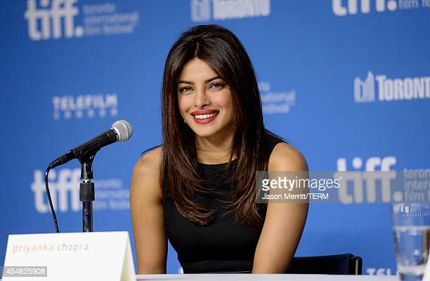 Actress Priyanka Chopra speaks onstage at the 'Mary Kom' Press Conference during the 2014 Toronto International Film Festival at TIFF Bell Lightbox...