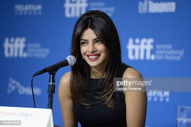 Actress Priyanka Chopra speaks onstage at theMary Kom Press Conference during the 2014 Toronto International Film Festival at TIFF Bell Lightbox on...