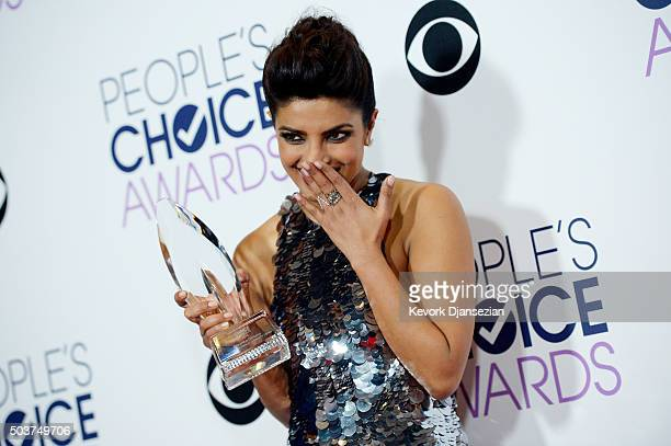 Actress Priyanka Chopra winner of Favorite Actress In A New TV Series for 'Quantico' poses in the press room during the People's Choice Awards 2016...