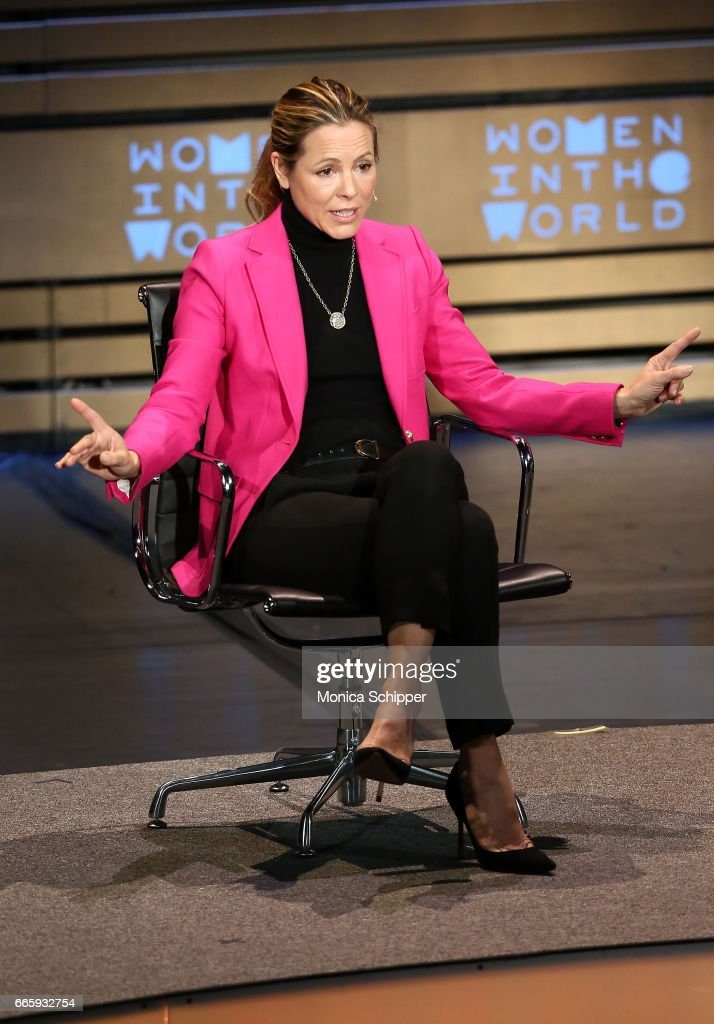 Actress, producer and activist Maria Bello speaks on stage at the 8th Annual Women In The World Summit at Lincoln Center for the Performing Arts on April 7, 2017 in New York City.