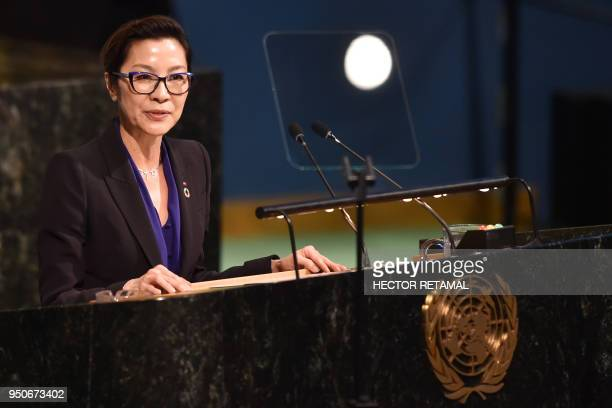 Actress producer and UNDP Goodwill Ambassador Michelle Yeoh speaks during the Highlevel Meeting on Peacebuilding and Sustaining Peace at United...