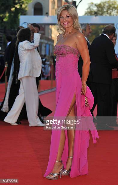 Actress / producer Patrizia Pellegrino arrives at the opening ceremony and 'Burn After Reading' Premiere during the 65th Venice Film Festival at Sala...