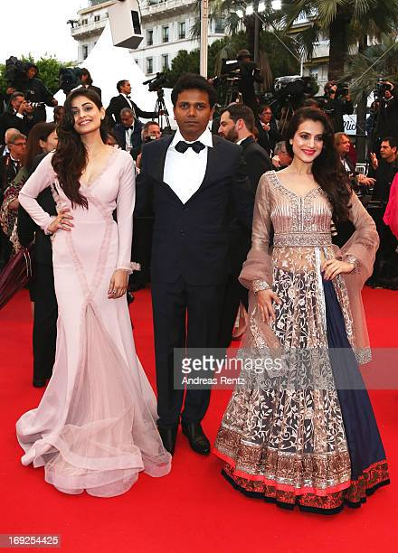 Actress Puja Gupta director Susi Ganeshan and actress Ameesha Patel attend the 'Shortcut Romeo' Premiere during the 66th Annual Cannes Film Festival...