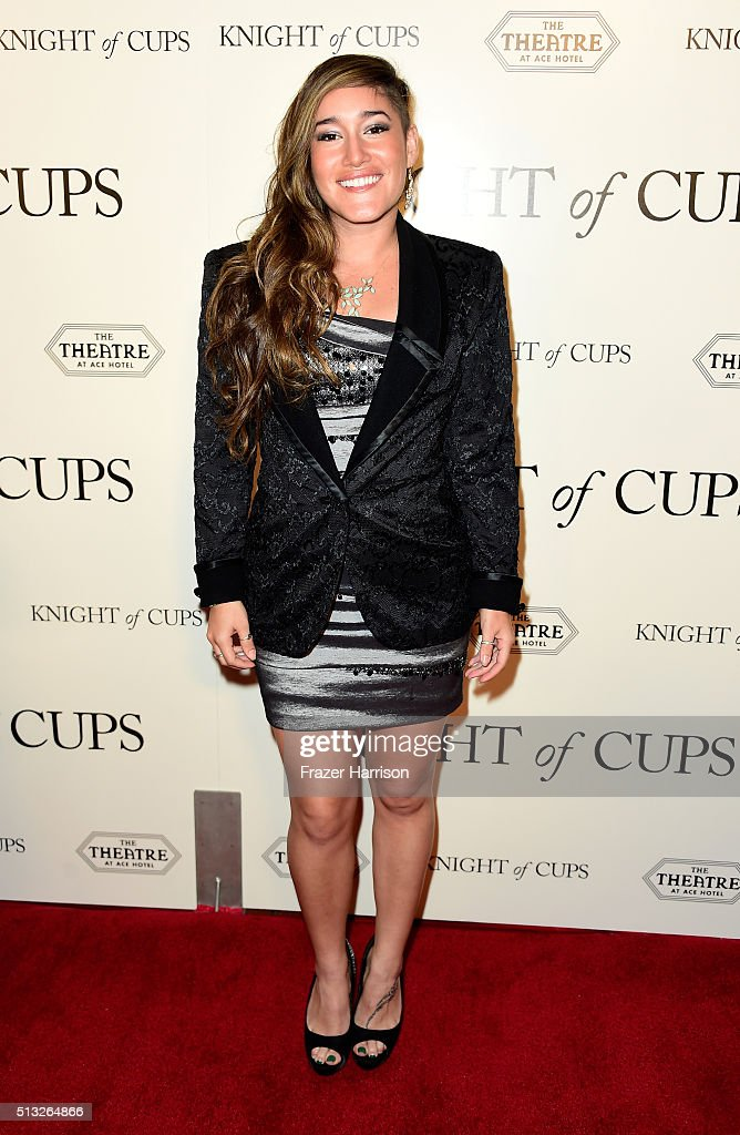 Actress Q'orianka Kilcher arrives at the Premiere of Broad Green Pictures' 'Knight Of Cups' at the Theatre at Ace Hotel on March 1, 2016 in Los Angeles, California.