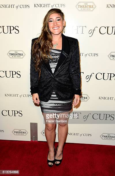 Actress Q'orianka Kilcher arrives at the Premiere of Broad Green Pictures' Knight Of Cups at the Theatre at Ace Hotel on March 1 2016 in Los Angeles...