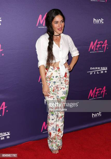 Actress Q'orianka Kilcher attends the premiere of Dark Sky Films' 'MFA' at The London West Hollywood on October 2 2017 in West Hollywood California