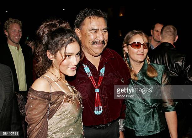 Actress Q'Orianka Kilcher Speaker 20th Navajo National Council Lawrence T Morgan and Saskia Kilcher arrive at the New Line Cinema premiere of The New...