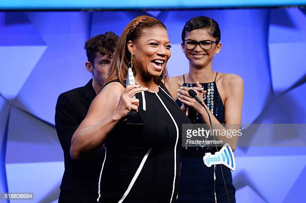 Actress Queen Latifah accepts the award for Outstanding TV Movie or Limited Series onstage during the 27th Annual GLAAD Media Awards at the Beverly...