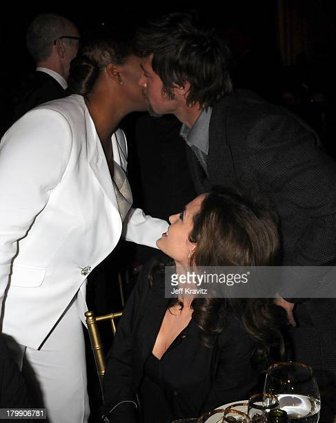 Actress Queen Latifah Actress Angelina Jolie and Actor Brad Pitt onstage at the 13th ANNUAL CRITICS' CHOICE AWARDS at the Santa Monica Civic...