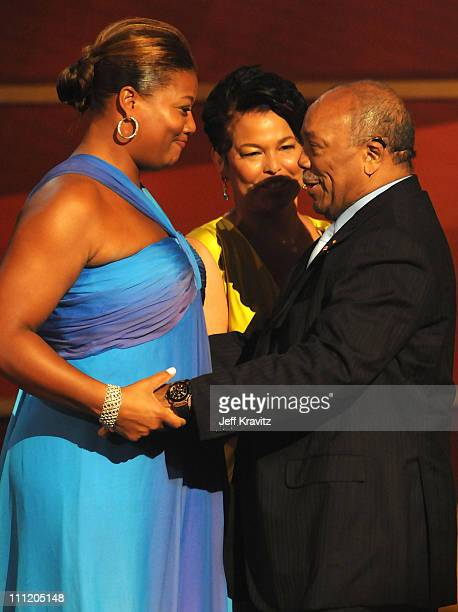 Actress Queen Latifah and Producer Quincy Jones on stage during the 2008 BET Awards at the Shrine Auditorium on June 24 2008 in Los Angeles California