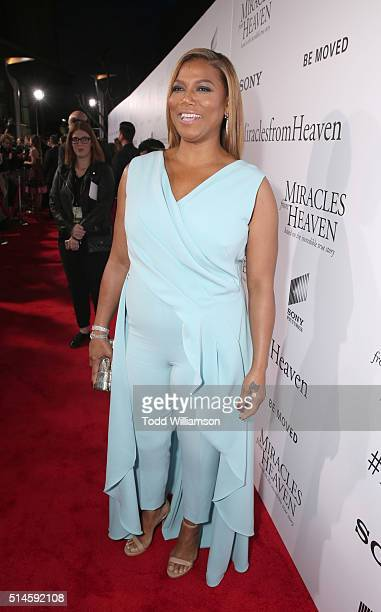 Actress Queen Latifah attends the Premiere Of Columbia Pictures' Miracles From Heaven Red Carpet at ArcLight Hollywood on March 9 2016 in Hollywood...