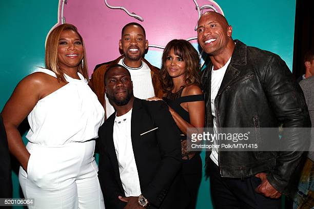 Actress Queen Latifah cohost Kevin Hart honoree Will Smith actress Halle Berry and cohost Dwayne Johnson attend the 2016 MTV Movie Awards at Warner...