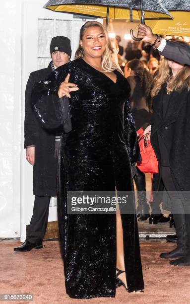 Actress Queen Latifah is seen arriving to the 2018 amfAR Gala New York at Cipriani Wall Street on February 7 2018 in New York City