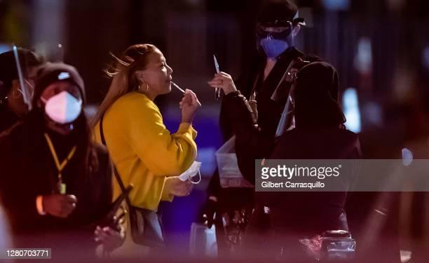 """Actress Queen Latifah is seen filming night scenes on set of the Netflix feature film """"Hustle"""" on October 17, 2020 in Philadelphia, Pennsylvania."""