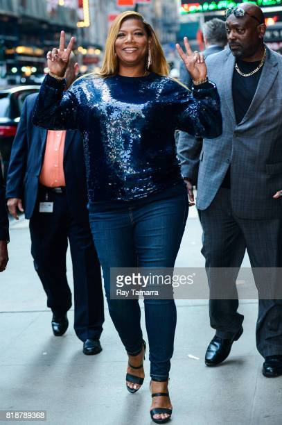 Actress Queen Latifah leaves the 'Good Morning America' taping at the ABC Times Square Studios on July 19 2017 in New York City