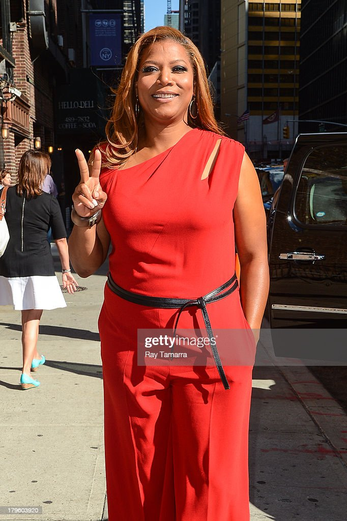 Actress Queen Latifah leaves the 'Late Show With David Letterman' taping at the Ed Sullivan Theater on September 5, 2013 in New York City.